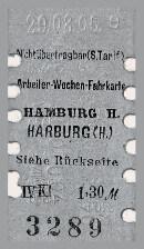 Arbeiter-Wochen-Fahrkarte Hamburg - Harburg