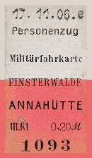 Militärfahrkarte Finsterwalde - Annahütte